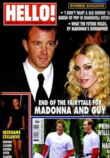 Madonna and Guy Ritchie on the cover of UK magazine ''Hello!''