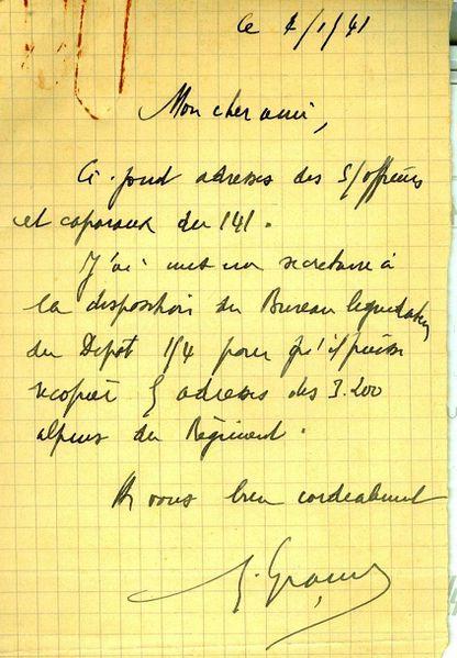 191 Message de col. Granier envoi adresses des 3200 alpins