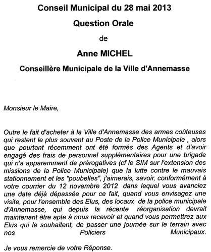 ma question orale sur la PM par le Dl du 01 juin