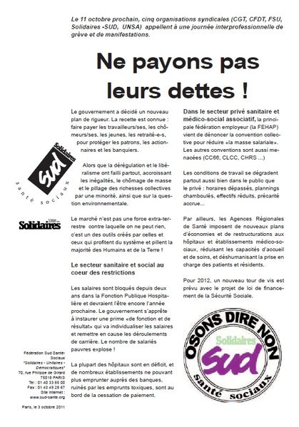 Tract appel 11 octobre