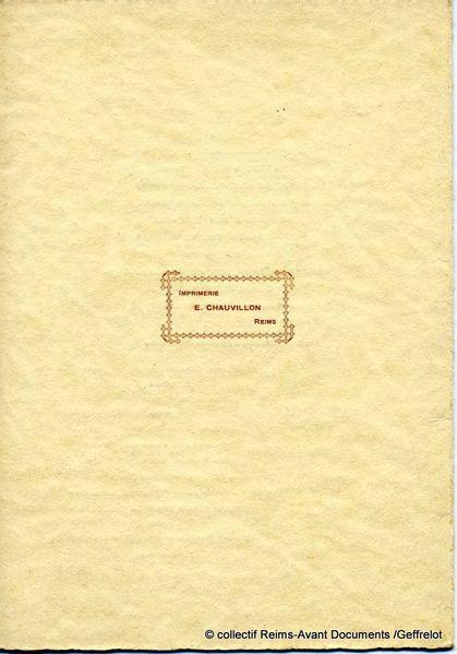 Menu et programme d'un repas organisé pour Mr Charles Roche Maire de Reims en 1923
