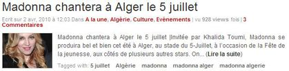 Madonna will sing in Algiers on July 5th?