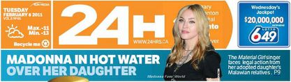 Madonna on the cover of Canadian newspapers ''24 Hours'' - Feb 8, 2011