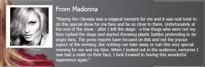 Madonna - MDNA Tour: Madonna's statement on Olympia show