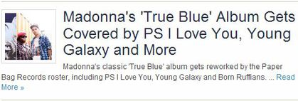 More on Madonna's ''True Blue'' cover album by Paper Bag Records