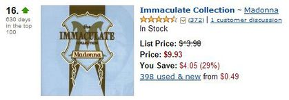 Madonna's Immaculate Collection at Amazon's Bestsellers in Dance & DJ