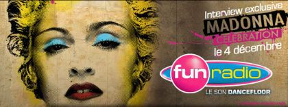 Web ad for Madonna's interview on FUN Radio on Dec. 4, 2009