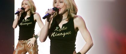 The now iconic t-shirt that Madonna is wearing was designed by Dolce & Gabbana for her appearance at the MTV awards in Stockholm