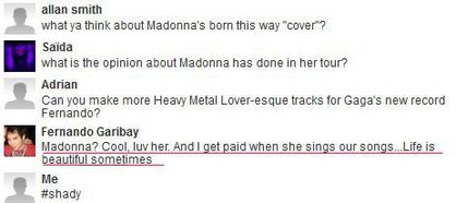 Madonna - MDNA Tour: Fernando Garibay on Madonna's cover of Lady Gaga's ''Born This Way''