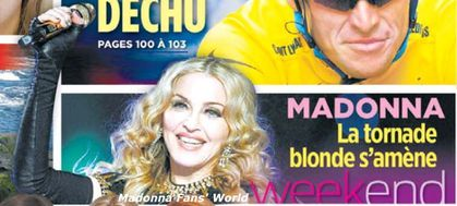 Madonna - MDNA Tour: On the cover of newspaper from Canada ''Le Journal de Montréal'' - August 25, 2012