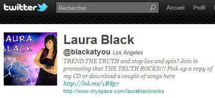 Laura Black follows 'Madonna Fans' World' on Twitter
