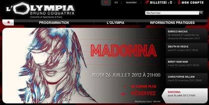 Madonna - MDNA Tour: Special show added at L'Olympia in Paris to be streamed online - July 26, 2012