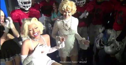 Video: Madonna kissing Nicki Minaj on ''Give Me All Your Luvin' '' video set