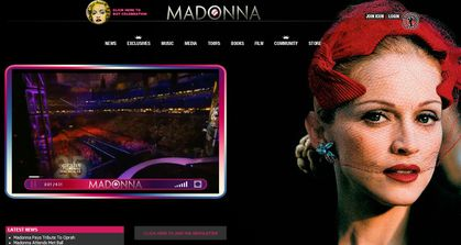 Madonna as Evita welcomes you on Madonna's official website