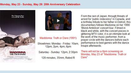 Madonna's ''Truth or Dare'' 20th Anniversary Screenings