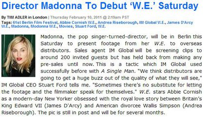Madonna to present new film ''W.E.'' Saturday Feb. 12, 2011 in Berlin