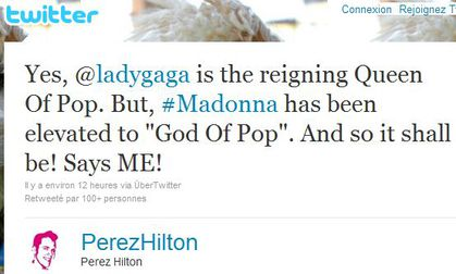 Perez Hilton: ''Madonna has been elevated to ''God Of Pop'' ''