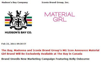 Madonna's Material Girl Exclusively Available at The Bay in Canada