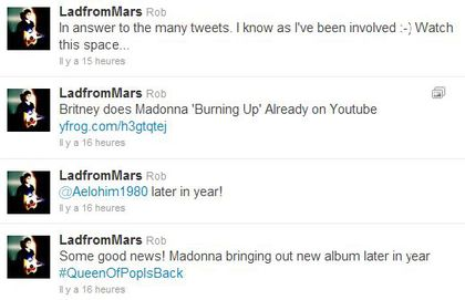Rob: ''Madonna bringing out new album later in year''