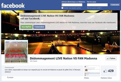 Madonna - MDNA Tour: Facebook Fans page asking Live Nation for a refund for Olympia show