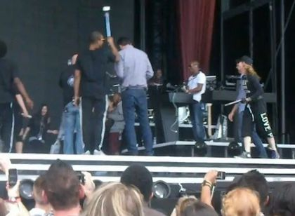 Madonna - MDNA Tour: Madonna and crew singing ''Happy Birthday'' to dancer at soundcheck in Gothenburg, Sweden - July 04, 2012