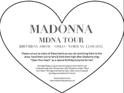 Madonna - MDNA Tour: Wish Happy Birthday to Madonna in Oslo, Norway - August 15, 2012