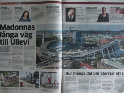 Madonna - MDNA Tour: On the covers of Swedish newspapers for the show in Gothenburg