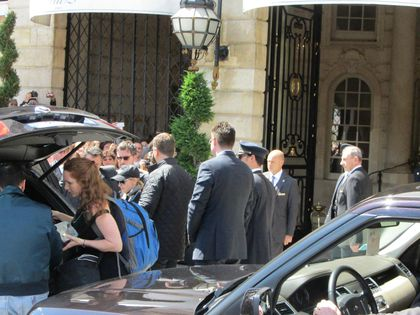 Madonna - MDNA Tour: Madonna leaving Ritz hotel with Rocco for the show in Paris, France - July 14, 2012