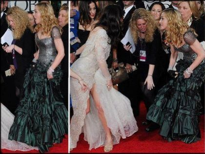 Golden Globe Awards: Madonna steps on train of Jessica Biel's dress
