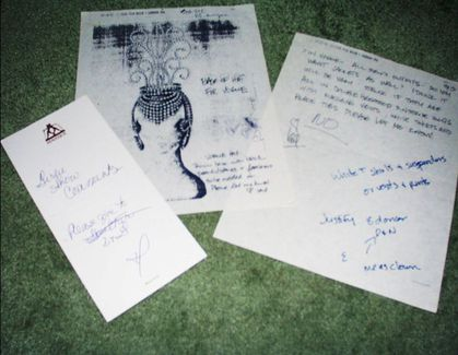 Notes written by Madonna on the Girlie Show