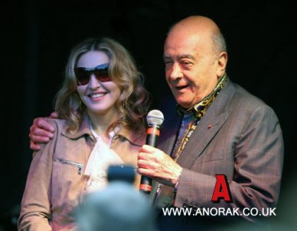 Madonna at Lawnfest charity with Mohamed Al Fayed on June 11, 2010