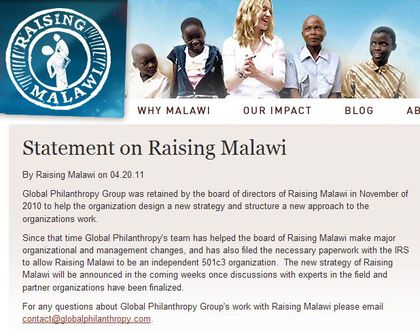 Raising Malawi has filed the necessary paperwork with the IRS