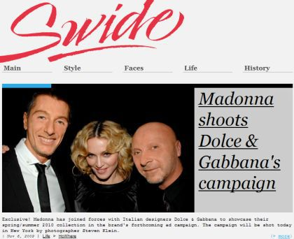 Madonna shoots Dolce & Gabbana Spring/Summer 2010 campaign by Steven Klein on Nov 6, 2009