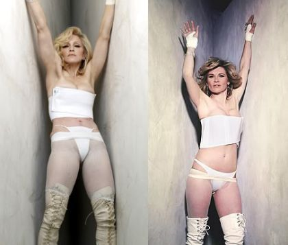 UK TV presenter Anthea Turner looking like Madonna