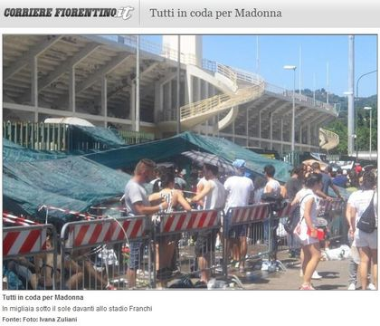 Madonna - MDNA Tour: Fans at the stadium in Florence, Italy - June 16, 2012