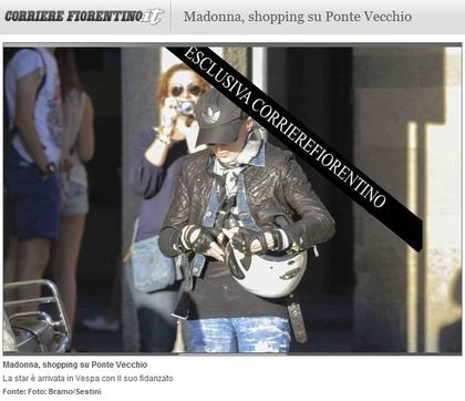 Madonna - MDNA Tour: Madonna on scooter, shopping in Ponte Vecchio, Italy - June 15, 2012