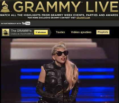 Lady Gaga looks like Madonna at Grammys and thanks Whitney Houston!