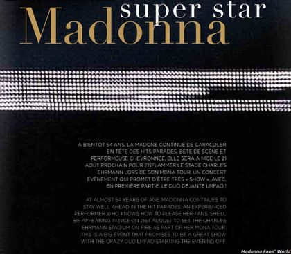 Madonna - MDNA Tour: Madonna on the cover of Nice Airport magazine ''Grand Sud'' - Summer 2012