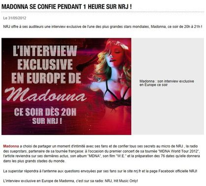 Reminder: Interview with Madonna on French Radio NRJ Tonight