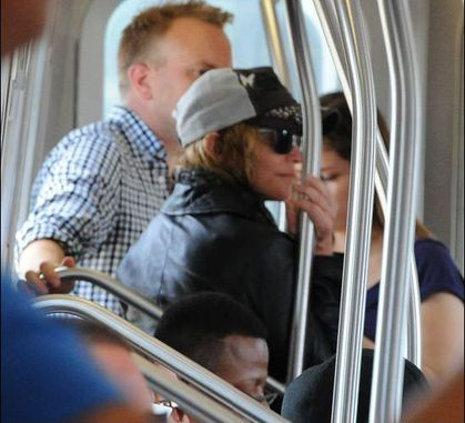 Madonna in Subway in New York - September 7, 2010