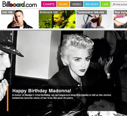 Billboard celebrates Madonna's birthday