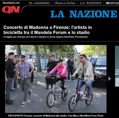 Madonna - MDNA Tour: Madonna arriving at the stadium on bicycle in Florence, Italy - June 16, 2012