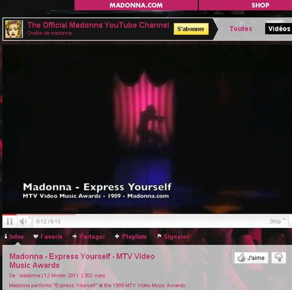 The Official Madonna YouTube Channel uploads ''Express Yourself''