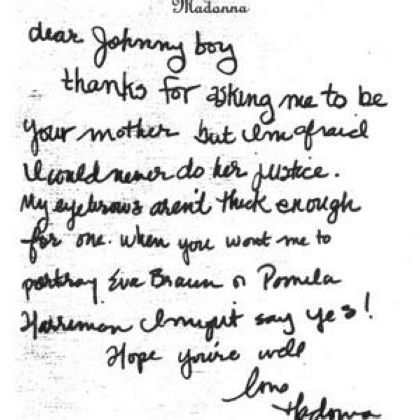 Madonna's letter to JFK Jr