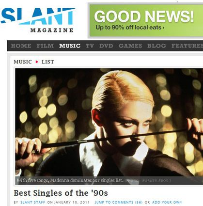 Madonna dominates Slant Magazine's 100 Best Singles of the '90s