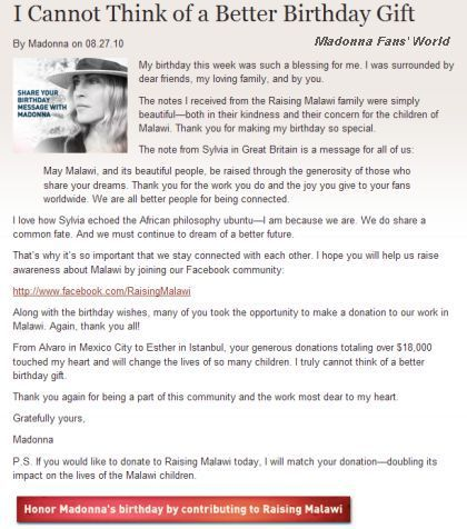 A thank you message from Madonna to Raising Malawi's supporters