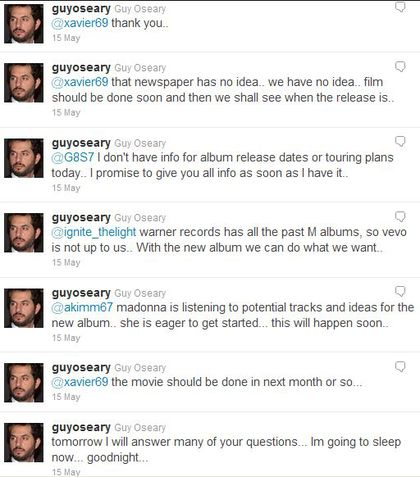 Guy Oseary's answers on Madonna's movie ''W.E.'', album, tour
