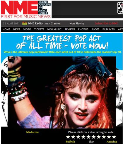 Vote for Madonna as The Greatest Pop Act Of All Time