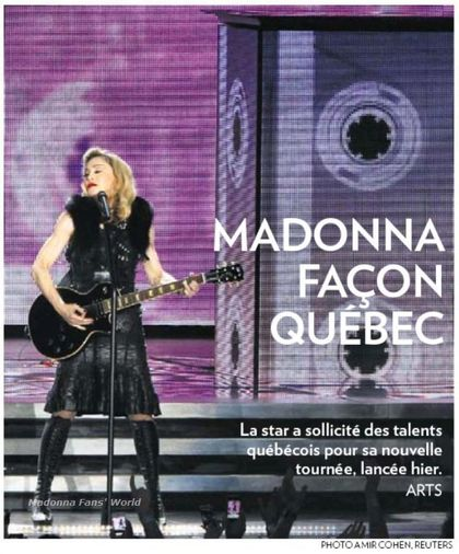 Madonna - MDNA Tour: On the cover of Canadian newspaper ''La Presse''