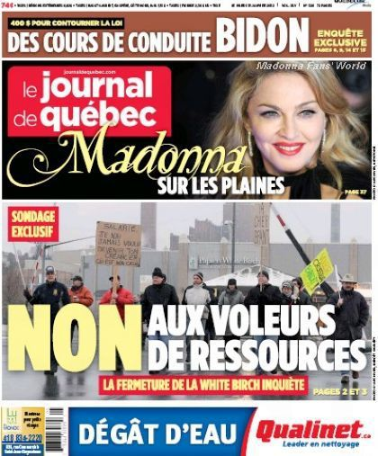 Madonna on the cover of Canadian newspaper ''Le Journal de Québec''